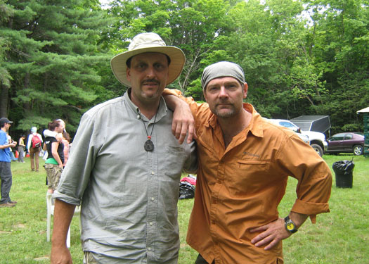 "Instructor David Arama posing with ""Survivorman"" Les Stroud during a film shoot"